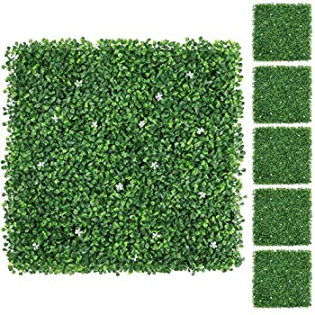 YAHEETECH 12Pcs 20 x 20 inch Artificial Boxwood Panels w/Little White Flowers Topiary Hedge Plant UV Protected Privacy Hedge Screen for Garden,Home,Fence,Backyard and Decorations Green