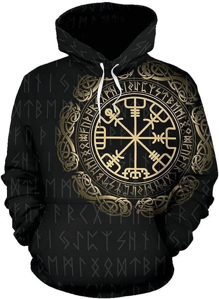 Men's Viking Sweatshirt 3D Printing Odin Rune Vegvisir Long Sleeve Sweater Fall Loose Drawstring Large Pocket Hoodie