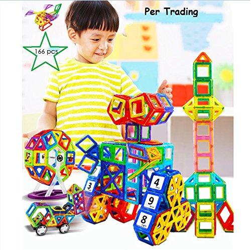 Per 166pcs Blocs de Construction Magnétiques avec Boîte de Rangement, 3D DIY jeu de construction éducatif sur les techniques à l'âge préscolaire, Stimule la créativité et l'imagination des enfants