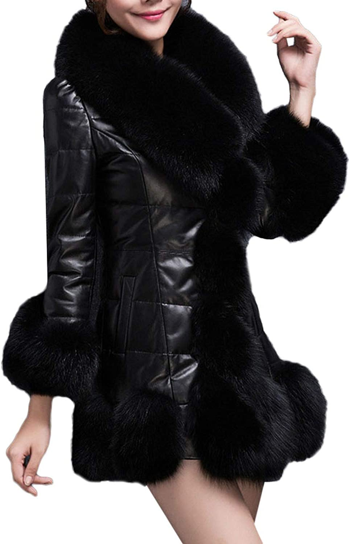 1PC Coat Women Winter Coat Faux Fur Coat Elegant Warm Long Sleeve Splice Long Fake Fur Down Jacket,BK,XL