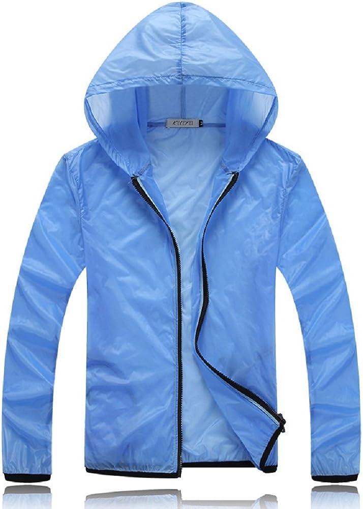 Women Teens Candy Color Windbreaker Casual Hooded Jacket Sports Waterproof Sun Protection Sweatshirt Blue