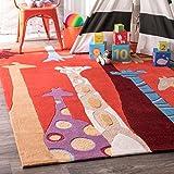 nuLOOM Colorful Giraffes Nursery Kids Rug, 5' x 7', Red