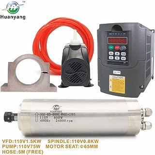 VFD CNC Spindle Motor Kits:110V 1.5KW VFD+110V 800W 4 bearings Water Cooled Spindle Motor+110V 75W Water Pump+65mm Motor Clamp Mount+5m Water Pipe (110V-1.5kw vfd, 800w 4 bearings motor)