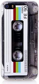 iPhone SE Soft Case, FAteam Matte Finish Heavy Duty Soft Back Cover with TPU Soft Bumper Retro Cassette Tape Case Compatible with iPhone 5 5s SE