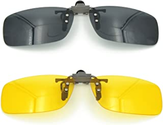 Besgoods 2PCS (Yellow Night Vision+Black) Sport Driving Polarized Clip-on Sunglasses Flip up Glasses Lenses Cycling Fishing Outdoor