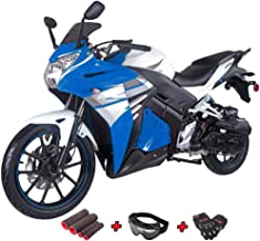 50cc Moped Scooter Gas Moped Scooter Motorcycle Scooter 50cc Adult Scooter with Gloves, Goggle and Handgrip (Blue)