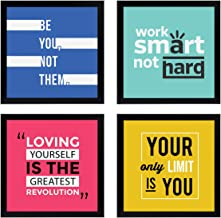 Chaka Chaundh - Quotes Frames - Motivational Quotes Frames - Motivational Frame – framed poster for OFFICE WALL, SCHOOL, STUDY ROOM, COLLEGE, INSTITUTE, STUDENT, ENTREPRENEUR, CLASSROOM & HOME - Quotes Wall Frames - Wall Frames with Quotes - Inspirational Quotes Wall Frames - Quotes Frames for Walls Decoration - Photos with Quotes - (23 cm x 23 cm x 4 cm) - Set of 4 - Combo