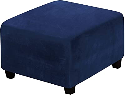 Square Velvet Ottoman Cover, Soft Thick Ottoman Slipcovers with Elastic Bottom Non-Slip Anti-Stain All-Inclusive Stool Cover Living Room Sofa Footstool Protect-Navy-Machine wash