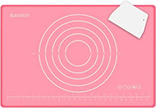 حصائر الخبز المصنوعة من السيليكون غير قابلة للالتصاق المعجنات، وسادة سميكة بتصميم الحواف (23.6 بوصة × 15.7 بوصة وردية)