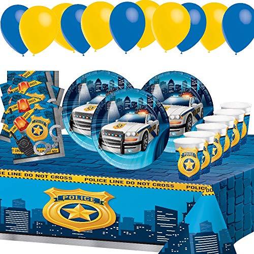 Kindergeburtstag Polizei Geburtstag Party Bürgerwehr Junge Jungen 8 Kinder Dekoration Tisch PartyGeschirr Geschirr 1 Tischdecken 8 Pappbecher 8 Tassen 16 Servietten