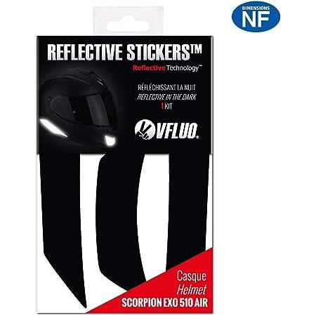 VFLUO Exo510air™, Kit 4 Stickers rétro réfléchissants Casque Scorpion Exo510air, compatibles Tous Casques Moto, 3M Technology™, Noir