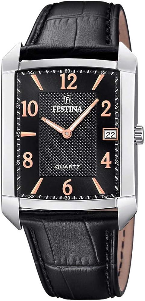 Festina orologio analogico da uomo con cassa in acciaio inossidabile cinturino in vera pelle F20464/3