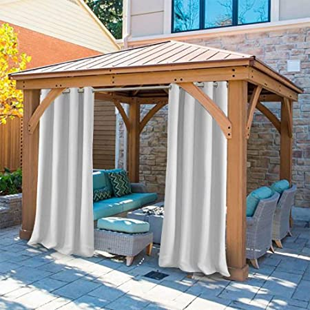 Outdoor Curtains for Gazebo with Eyelets Mildew Resistan Pergola Curtains Dark Grey Perfect for Garden Patio Balloon of Pavilion Beach House 50 W*92 H 1 Piece UniEco