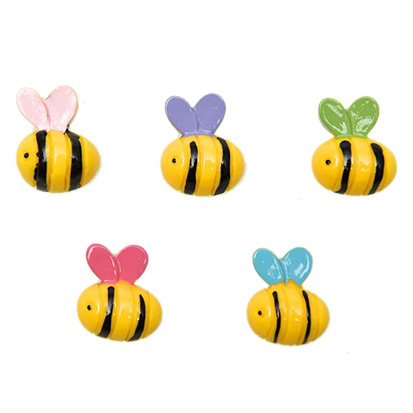 Pomeat 50Pcs Bee Slime Charms Animal Slime Charms Beads Resin Flatback Buttons for Scrapbooking Phone Case Decor - 17x21mm
