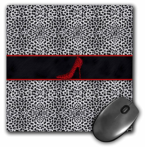 3dRose LLC 8 x 8 x 0.25 Inches Mouse Pad, Silver Cheetah Print and Red Stiletto Heel (mp_38695_1)