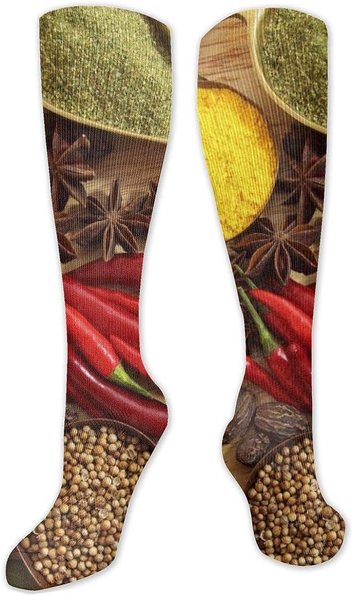 Spices Seasonings Red Pepper Knee High Socks Leg Warmer Dresses Long Boot Stockings For Womens Cosplay Daily Wear