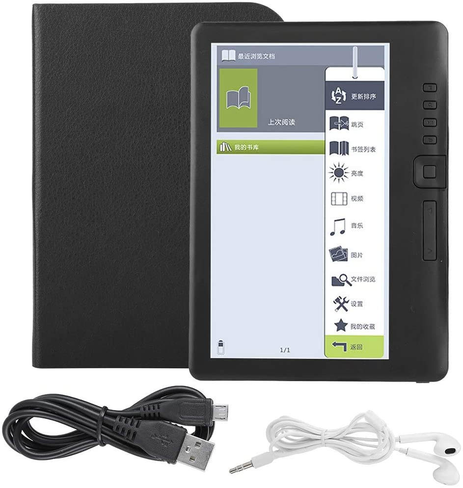Photos and Other Multimedia Feature Video ASHATA Portable 7inch E-book Reader Colorful Screen Supports 16 GB TF Card,Waterproof Ultra-clear Electronic Screen E-book Reader,Built-in Music 4G