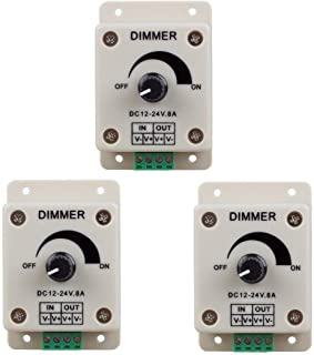 Hiletgo 3pcs DC12-24V 8Amp 0%-100% PWM Dimming Controller for LED Lights, Ribbon Lights,Tape Lights,Dimmer is compatible with Hilight, LEDwholesaler, fillite, and others` strips