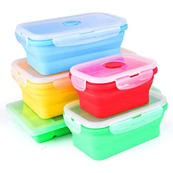Collapsible silicone storage set of 4 plus bonus Ice tray
