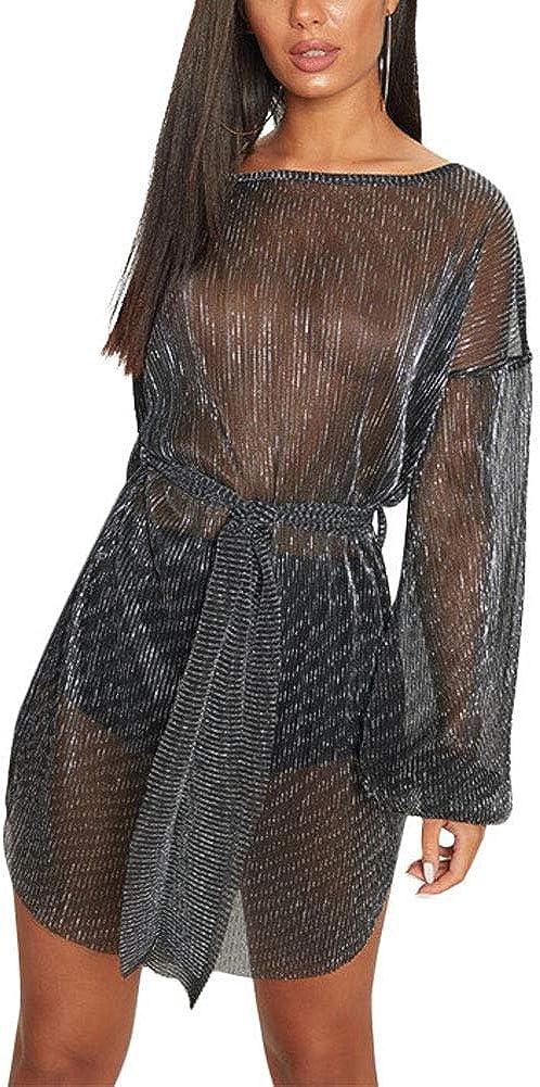 Women Sexy Glitter Shift Dress - Sparkly Mesh Sheer See Through Metallic Shiny Party Night Clubwear