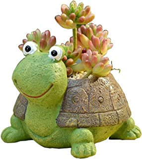 Youfui Cute Dog Flowerpot Animal Resin Succulent Planter Desk Mini Ornament (Turtle)
