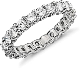 NYC Sterling 3.50mm Sterling Silver 925 Cubic Zirconia Cz Eternity Engagement Wedding Band Ring