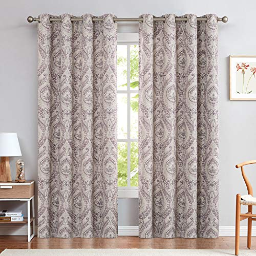 Damask Printed Curtains for Bedroom Drapes Vintage Linen Textured Medallion Curtain Panels Window Treatments Room Darkening for Living Room Patio Door 2 Panels 84 Inch Long Purple