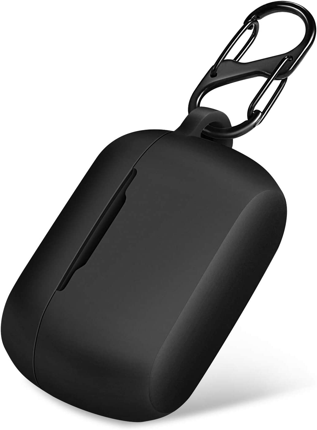 Protective Silicone Cover for Jabra Elite (Active) 75t Charging Case, Portable Carrying Cases with Carabiner Keychain (75t-Black)