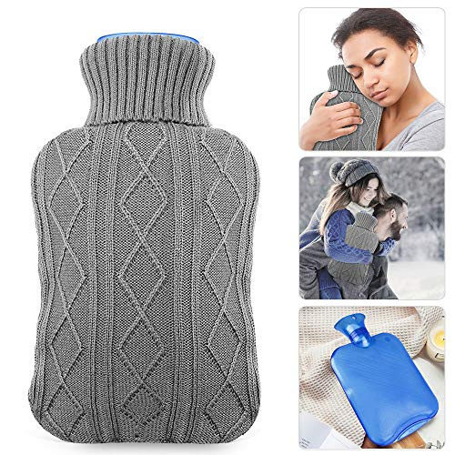 Hot Water Bottle with Knit Cover, UBEGOOD Transparent Hot Water Bag, Good for Pain Relief (2 Liters, Blue/Gray)