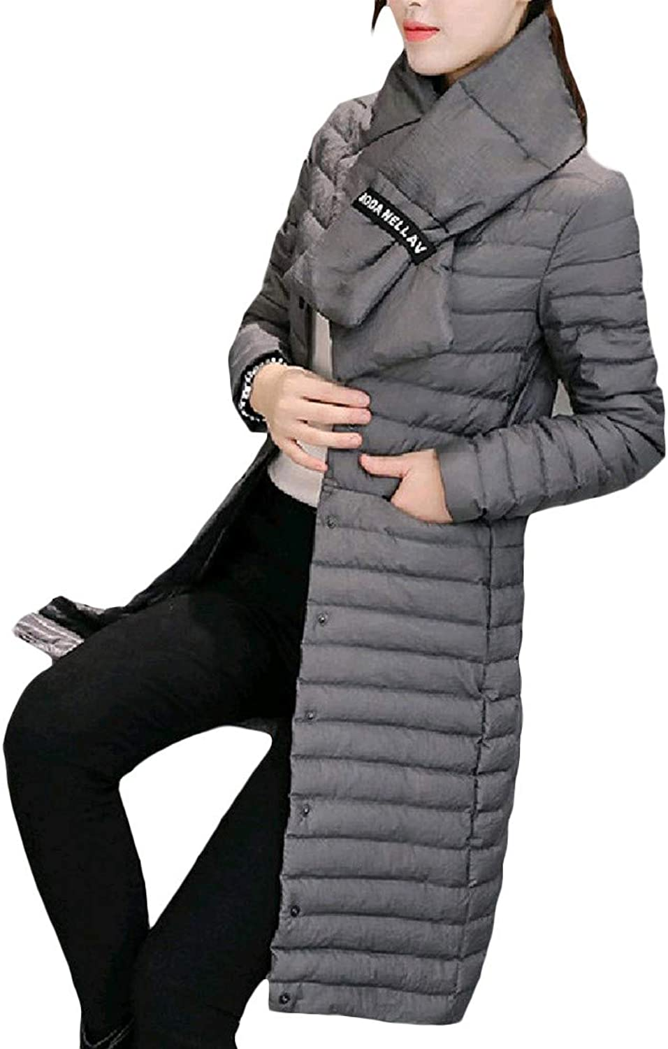 Firheas Women's Oversize Winter Striped Solid color Maxi Down Jackets