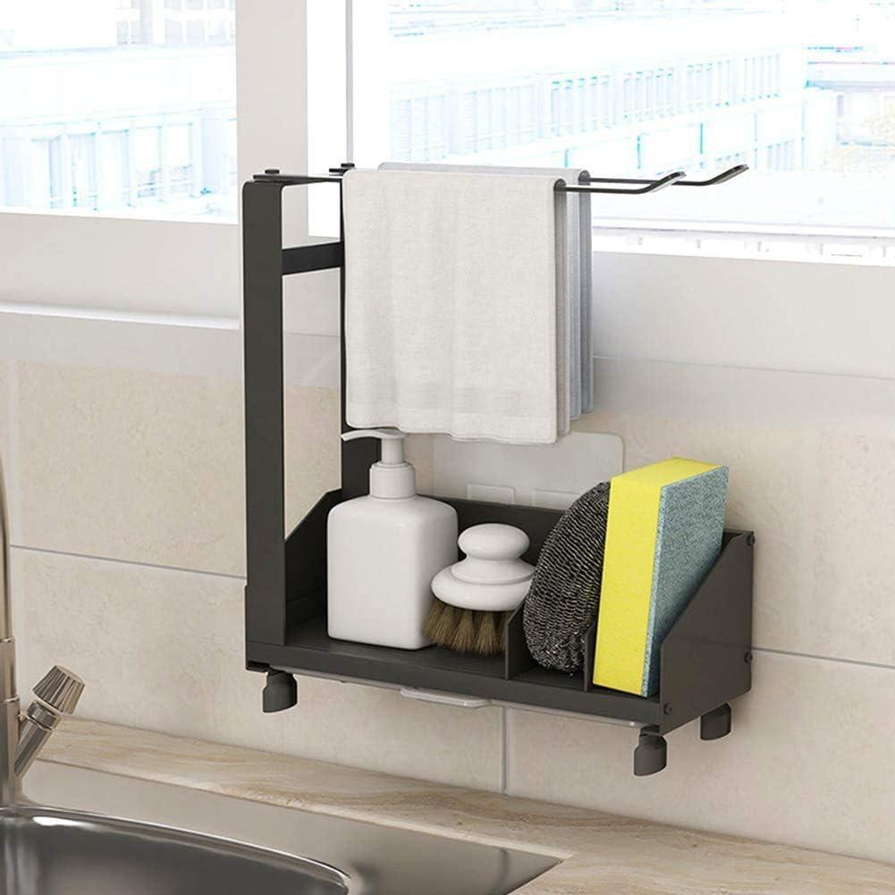 WEIWAN Organizador Sink Caddy Soporte para Utensilios de Cocina, Organizador de Fregadero de Cocina con Bandeja extraíble + Toallero, Adhesivo&Encimera para el Fregadero Acero Inoxidable 26x21x8,5cm