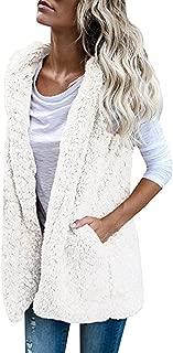 Womens Vest Winter Warm Hoodie Casual Wool Coat Faux Fur Zip Up Sherpa Jacket