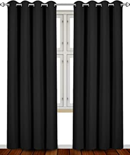 Utopia Bedding 52 Inch Wide X 84 inch Long Blackout Window Panel Curtains, Black, Set of 2