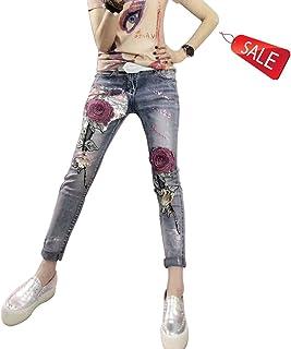 ヨーロッパスリムなズボン薄いローズの刺繍ブロンズ掛け目のスパンコールジーンズ ガールズ (Size : S-26)