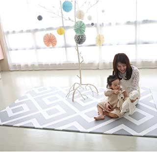 90 Inch - Baby Play Mat Cushion Floor Foam Mat for Children, Soft Gym Kids Play Mat, Waterproof, Easy to Clean, Soft and Thick, Non Toxic, BPA-Free, Reversible (Daily Diamond and Stripe, 90