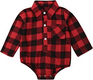 Baby Christmas Clothes Baby Boy Girl Long Sleeve Plaid Rompers Bodysuits Blouses Style Romper Jumpsuits Outfits