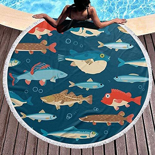 Leo-Shop Toalla de Playa Redonda Kawaii Submarino Pez Globo Japón Manta Grande con borlas Ultra SoftBeach Throw 59 Inch