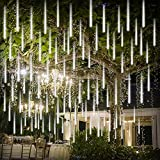 Meteor Shower Lights Waterproof LED Falling Rain Lights 192 LEDs 11.8 inch 8 Tubes Outdoor Christmas Icicle...