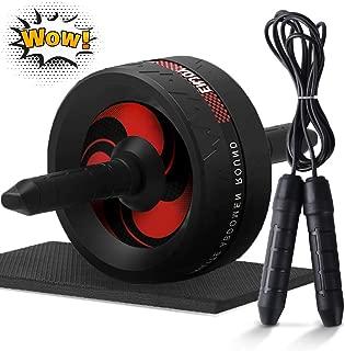 腹筋ローラー 300KG耐荷重 超静音 アブローラー 取り付け簡単 膝マット付き 腹筋トレ 自宅用 アブホイール (マット、 縄跳び付き)