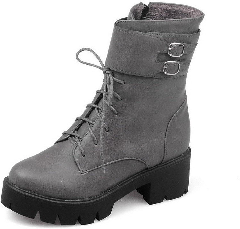 AmoonyFashion Women's Low-top Solid Zipper Round Closed Toe Kitten Heels Boots