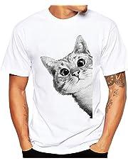 メンズ レディース Tシャツ Meilaifushi 可愛い ねこ柄 Tシャツ 多色選択 丸首 半袖 着心地良い 活動性が良い 猫模様 男女兼用 夏服 吸汗速乾 お出かけ カジュアル 上着 通勤 普段着 男性女性 ファッション トップス