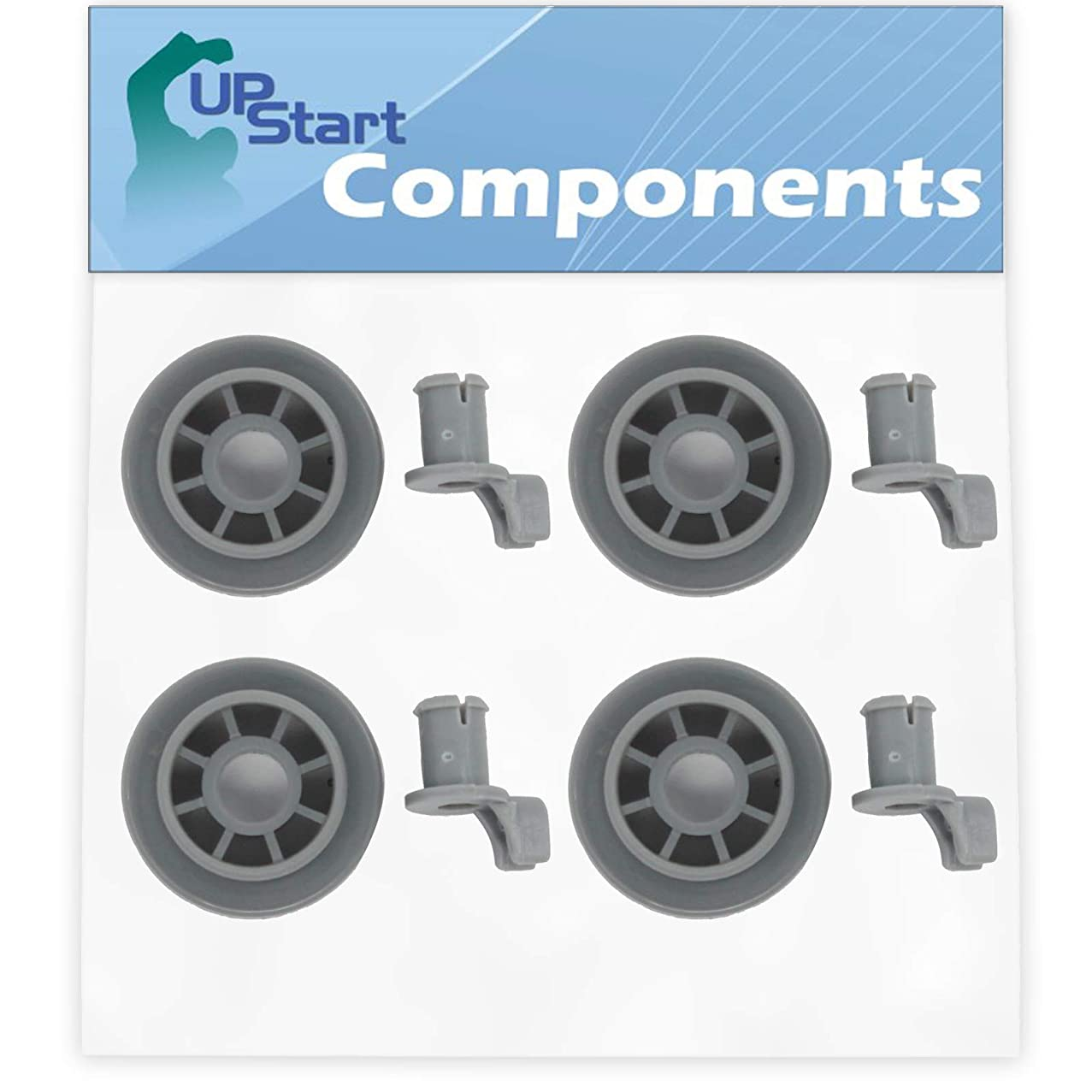 4-Pack 165314 Dishwasher Lower Dishrack Wheel Replacement for Bosch SHX43C05UC/33 Dishwasher - Compatible with 00165314 Lower Rack Roller - UpStart Components Brand