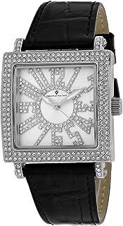 Christian Van Sant Women's Lumina Stainless Steel Quartz Leather Strap, Black, 20 Casual Watch (Model: CV0240)