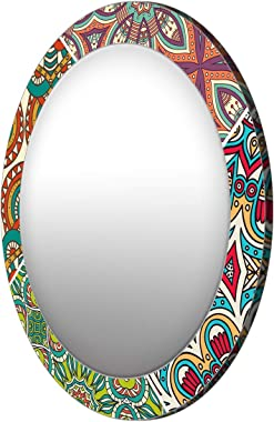 999Store Printed Green and Brown Floral Round Mirror(MDF_17X17 Inch_Multi)