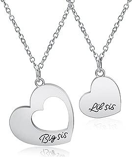 KUIYAI Big Sis Middle Sis Little Sis 3 Piece Cut Heart Necklace Set