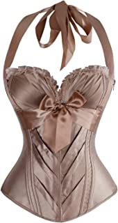 Charmian Women's Burlesque Fashion Satin Halter Boned Zipper Bustier Corset Top
