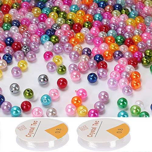 Pulluo 600 Stück Bunte Kunstperlen 8mm Künstliche Perlen Bastelperlen mit Loch Runde Dekoperlen Set Zum Basteln für DIY Kunsthandwerk Schmuck Armbänder Halskette Perlen Kugel