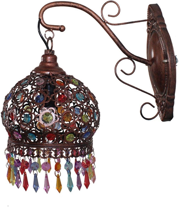 Single Head Wandleuchten Iron Retro Handgefertigte Perlen Lampen Und Laternen Garten Lichter Balkon Wandleuchten Kreative Lampen Und Laternen -E14 (Farbe   Messing)
