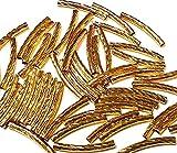 20 tubi in metallo, tubi di ottone, tubi curvi, tubetti di perle, 25 mm, colore oro, foro da 1,5 mm, catena per gioielli fai da te