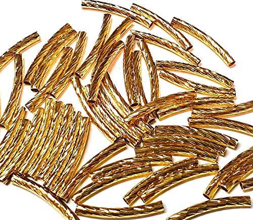 20 tubos de metal, tubos de latón, 25 mm, color dorado, agujero de 1,5 mm, cadena de joyas para la fabricación de joyas, hacer collares, pulseras, manualidades